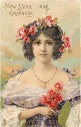 NEW YEAR GREETINGS  girl in violet dress, flowers in hair