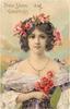 NEW YEAR GREETINGS  girl in violet dress, flowers in hair