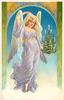 CHRISTMAS GREETINGS  angel in violet carrying small christmas tree