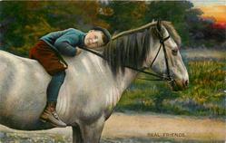 REAL FRIENDS  boy straddles horse, leaning head on horse's back