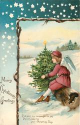 MERRY CHRISTMAS GREETINGS angel sits on log next to Xmas tree