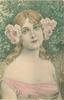 head & shoulders of woman in off shoulder dress & with roses over both ears, facing slightly right looking front