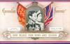 GOD BLESS OUR KING AND QUEEN  portrait of their majesties between flags