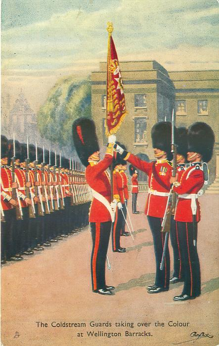 THE COLDSTREAM GUARDS TAKING OVER THE COLOUR AT WELLINGTON BARRACKS