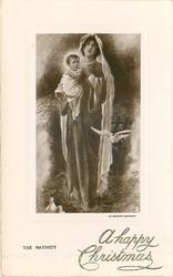 Mary standing with white veil holding Jesus in white, white dove flying, two white doves at Mary's feet
