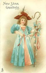 NEW YEAR GREETINGS girl in blue over peach dress, with deep red hat, carries flowery shepherds crook