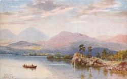 KILLIN, LOCH TAY (canoe in lake surrounded by trees and mountains)