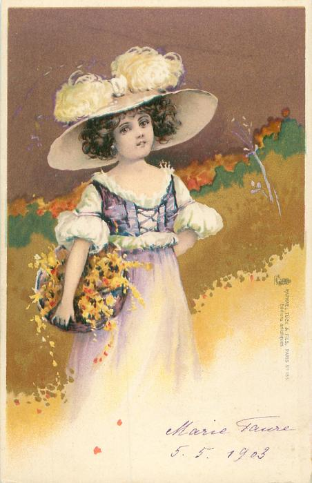 girl in violet & white dress, ostrich feathers in hat, holds basket of flowers under right arm, faces front/right