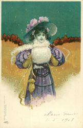 girl in violet dress with white muff & scarf, long gloves, faces front