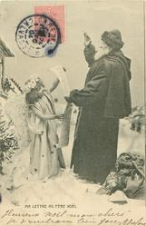 MA LETTRE AU PERE NOEL  angel holds up list for Santa to read