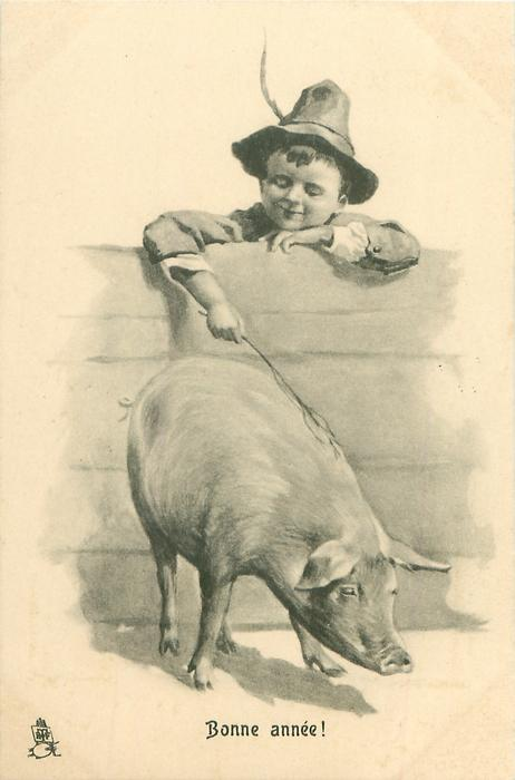 boy scratches back of pig with a stick