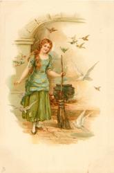 Cinderella holds her broom, birds around