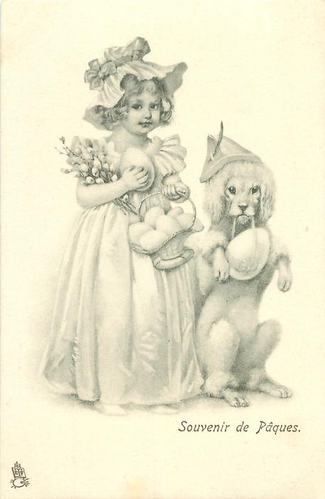 girl stands carrying EASTER eggs, large poodle sits up beside her on hind legs, also carring an egg