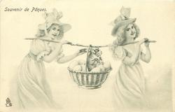 two girls walk right carrying basket of eggs & a rabbit, slung on a stick between them