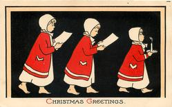 CHRISTMAS GREETINGS  three children in nightwear parade right led by one with candle