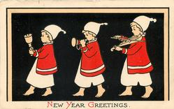 NEW YEAR GREETINGS  three children in nightwear parade left playing music