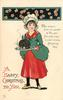 A HAPPY CHRISTMAS TO YOU.  girl stands facing front with Christmas pudding