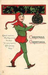 CHRISTMAS GREETINGS.   boy in jester suit carries Christmas pudding right