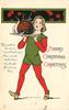 MERRY CHRISTMAS GREETINGS.  boy carries Christmas pudding left/front