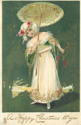 A HAPPY CHRISTMAS TO YOU  girl in white holds open parasol, green background