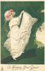 A HAPPY NEW YEAR.  girl in white dress lifts her skirt high with her right hand, green background