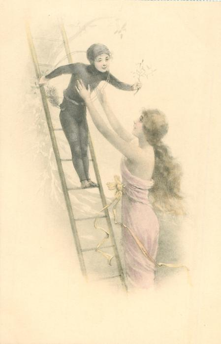 pretty woman reaches up to young chimney-sweep on ladder