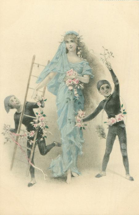 two young chimney-sweeps , one on either side of pretty woman standing carrying flowers