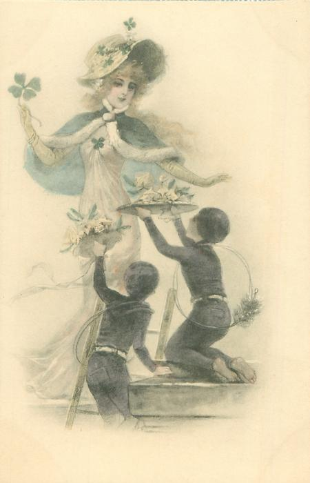 two young chimney-sweeps kneel before pretty woman standing behind & offer trays of flowers