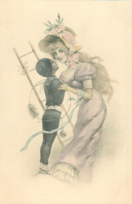 young chimney-sweep carrying ladder stretches up to almost kiss pretty woman standing right