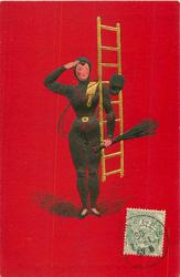 young chimney-sweep faces front & salutes, carring ladder