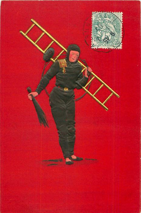young chimney-sweep faces front looks right, carrying ladder, brush in right hand