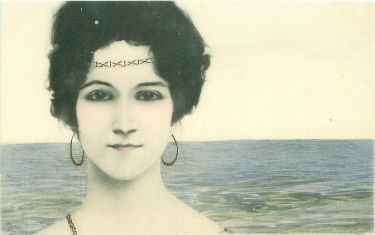 womans face, looking front, no flowers in hair, sea as background