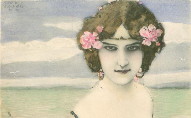 womans face, looking front, flowers in hair, sea as background