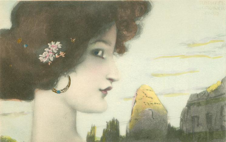 womans face, looking right, flowers over ear, ruins in  background right