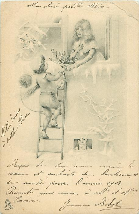 very young chimney sweep climbs ladder bringing gift to girl in window above