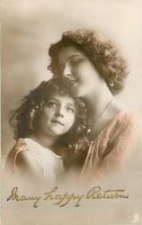 girl on left with hands folded looking up while mother is leaning head on child