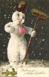 WITH BEST CHRISTMAS WISHES or WISHING YOU A HAPPY CHRISTMAS snowman with broom in hand, red heart and pot on head