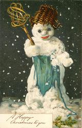 WITH BEST CHRISTMAS WISHES or  A HAPPY CHRISTMAS TO YOU  snowman with wicker basket on head, holding carpet beater, blue apron