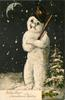 WITH BEST CHRISTMAS WISHES or WISHING YOU A HAPPY CHRISTMAS  snowman with top hat and wooden staff