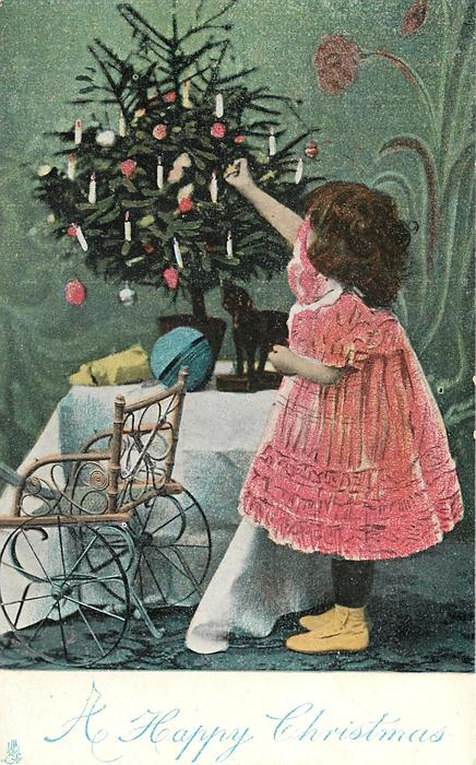 A HAPPY CHRISTMAS  girl in red dress reaches up to Xmas tree