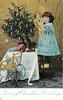 LOVING  CHRISTMAS GREETINGS  girl with doll stands on chair to right of Xmas tree