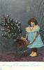 LOVING CHRISTMAS WISHES  girl wheels Xmas tree in cart