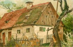 farmhouse with red roof & white walls