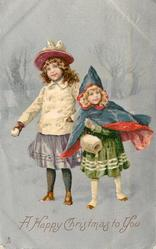 A HAPPY CHRISTMAS TO YOU  two children , one with snowball, other wearing muff, silver background