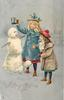 A MERRY CHRISTMAS TO YOU  two children building snowman, silver background