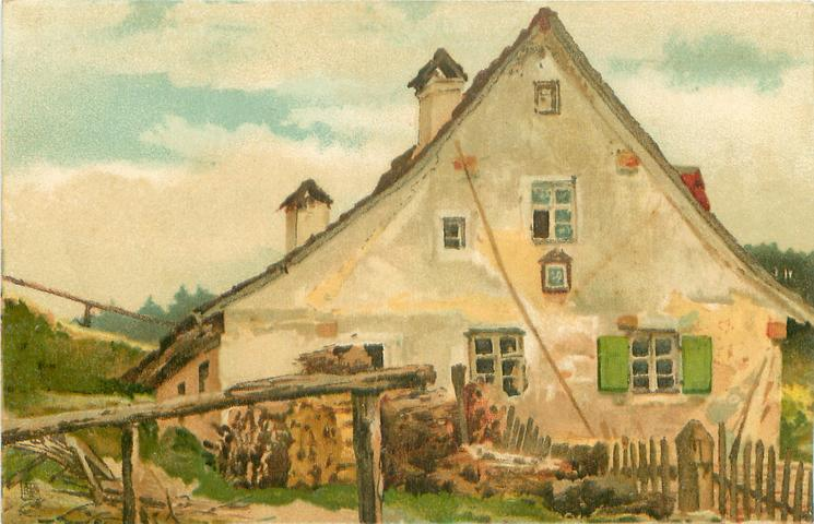 side view of farmhouse with white walls