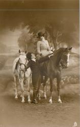 he dismounts, looks up at her from right side of her horse