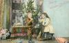 MERRY CHRISTMAS GREETINGS girl sits on toy horse, boy plays trumpet, Xmas tree on table behind