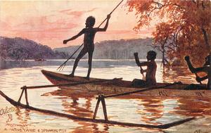 A NATIVE CANOE & SPEARING FISH