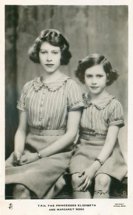 T.R.H. THE PRINCESSES ELIZABETH AND MARGARET ROSE  both seated, side by side